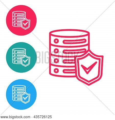 Red Line Server With Shield Icon Isolated On White Background. Protection Against Attacks. Network F