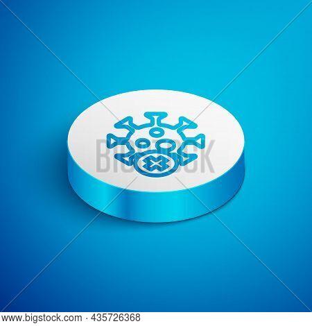 Isometric Line Positive Virus Icon Isolated On Blue Background. Corona Virus 2019-ncov. Bacteria And