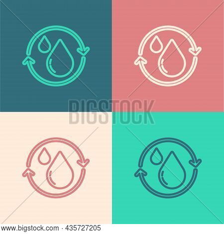 Pop Art Line Recycle Clean Aqua Icon Isolated On Color Background. Drop Of Water With Sign Recycling