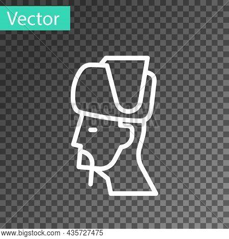 White Line Ukrainian Cossack Icon Isolated On Transparent Background. Vector