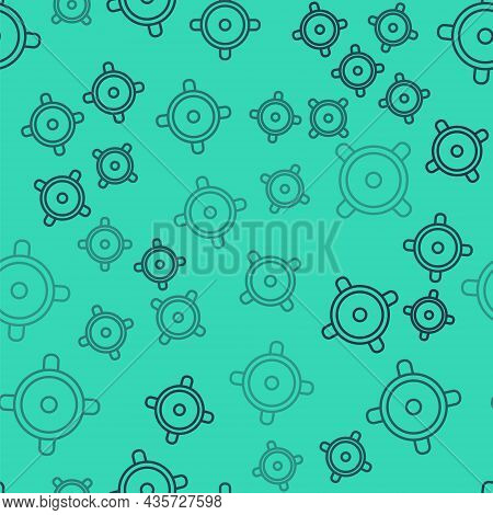 Black Line Stereo Speaker Icon Isolated Seamless Pattern On Green Background. Sound System Speakers.