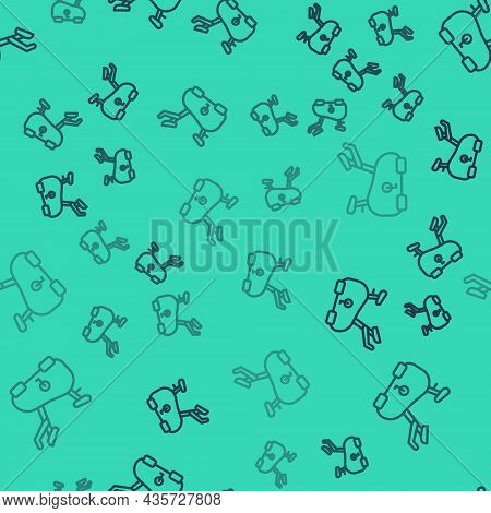 Black Line Stationary Bicycle Icon Isolated Seamless Pattern On Green Background. Exercise Bike. Vec