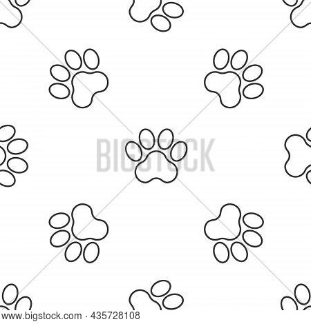 Grey Line Paw Print Icon Isolated Seamless Pattern On White Background. Dog Or Cat Paw Print. Animal