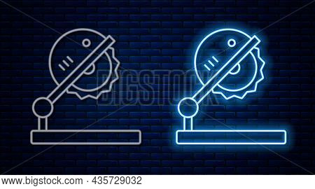 Glowing Neon Line Table Saw For Woodwork Icon Isolated On Brick Wall Background. Power Saw Bench. Ve