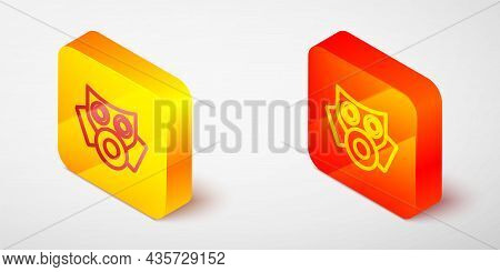 Isometric Line Gas Mask Icon Isolated On Grey Background. Respirator Sign. Yellow And Orange Square