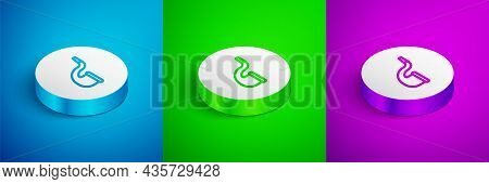 Isometric Line No Pipe Smoking Icon Isolated On Blue, Green And Purple Background. Dont Smoke. Tobac