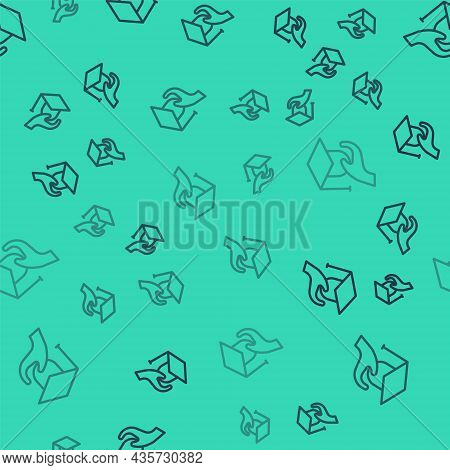 Black Line Education Grant Icon Isolated Seamless Pattern On Green Background. Tuition Fee, Financia