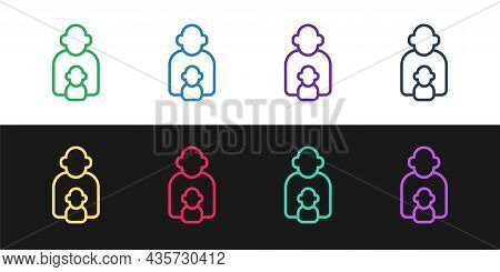 Set Line Taking Care Of Children Icon Isolated On Black And White Background. Vector