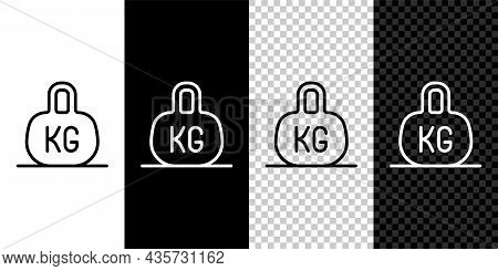 Set Line Weight Icon Isolated On Black And White, Transparent Background. Kilogram Weight Block For