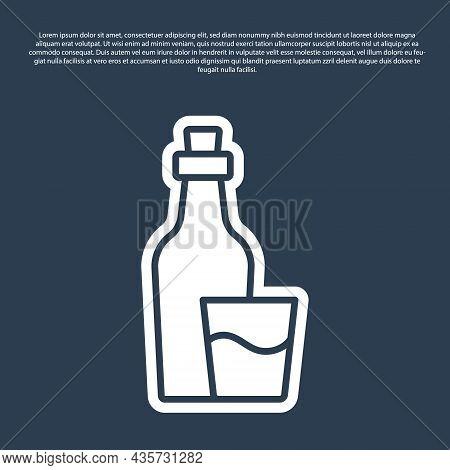 Blue Line Soju Bottle Icon Isolated On Blue Background. Korean Rice Vodka. Vector