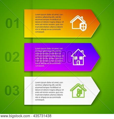 Set Line House Under Protection, , Temperature And Smart Glasses. Business Infographic Template. Vec