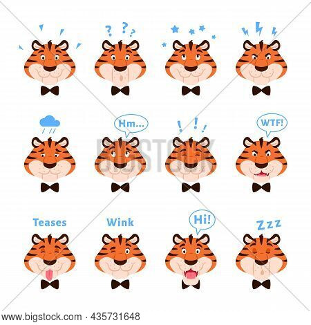 Cartoon Cute Tigers Head Collection With Facial Expressions. Happy Striped Emotional Wild Cats Isola