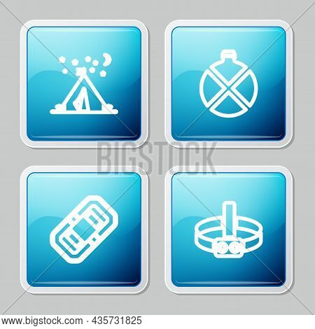 Set Line Tourist Tent With Flag, Canteen Water Bottle, Rafting Boat And Head Flashlight Icon. Vector