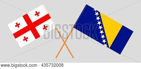 Crossed Flags Of Bosnia And Herzegovina And Georgia