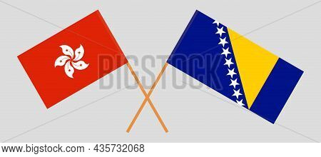 Crossed Flags Of Hong Kong And Bosnia And Herzegovina