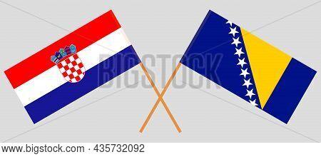 Crossed Flags Of Croatia And Bosnia And Herzegovina