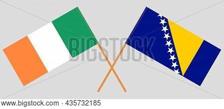 Crossed Flags Of Ireland And Bosnia And Herzegovina
