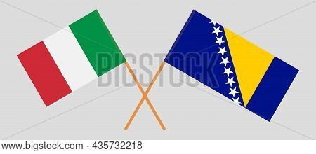 Crossed Flags Of Bosnia And Herzegovina And Italy