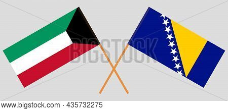 Crossed Flags Of Kuwait And Bosnia And Herzegovina