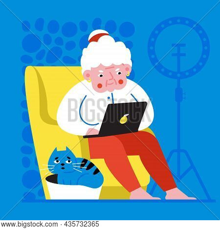 Colored Illustration In A Flat Style. Happy Modern Grandmother With Laptop. Web Poster Banner Design