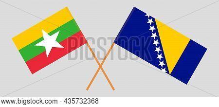 Crossed Flags Of Myanmar And Bosnia And Herzegovina