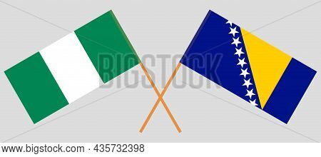 Crossed Flags Of Bosnia And Herzegovina And Nigeria