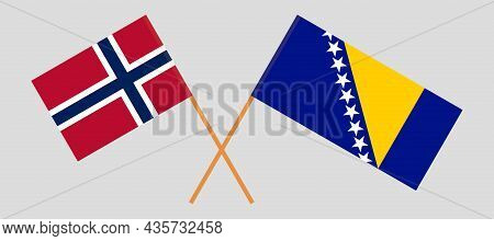 Crossed Flags Of Bosnia And Herzegovina And Norway