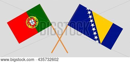 Crossed Flags Of Bosnia And Herzegovina And Portugal