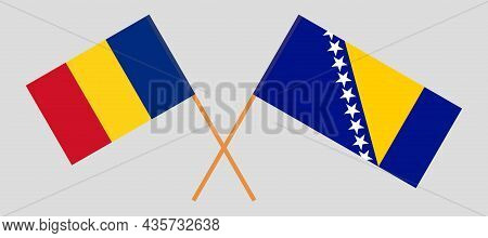 Crossed Flags Of Bosnia And Herzegovina And Romania