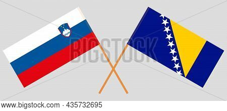 Crossed Flags Of Bosnia And Herzegovina And Slovenia