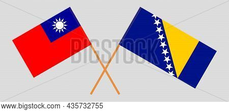 Crossed Flags Of Bosnia And Herzegovina And Taiwan