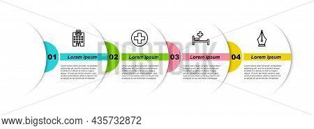 Set Line Medical Hospital Building, Cross Circle, Hospital Bed And Fountain Pen Nib. Business Infogr