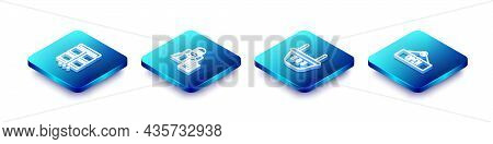 Set Isometric Line Online Shopping On Mobile, Delivery Man With Cardboard Boxes, Shopping Basket And
