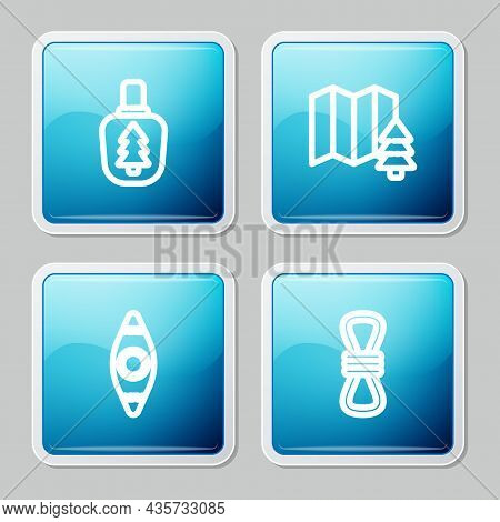 Set Line Canteen Water Bottle, Location Of The Forest, Kayak Canoe And Climber Rope Icon. Vector
