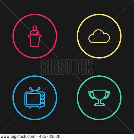 Set Line Television Tv, Trophy Cup, Cloud And Speaker Icon. Vector