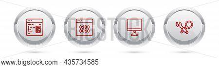 Set Line Software, Binary Code, Computer Monitor Screen And Debugging. Silver Circle Button. Vector