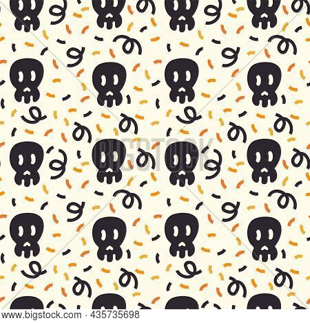A Pattern With A Black Skull For The Day Of The Dead. The Substrate Is In Black And Orange Autumn Co