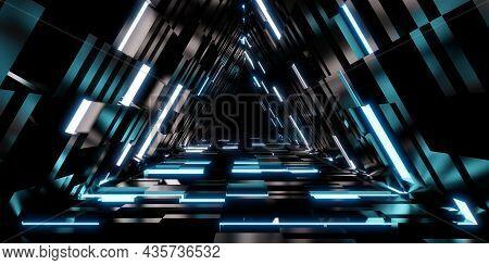Laser Tunnel Technology Triangular Corridor Door Of Neon Light 3d Illustration