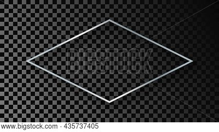 Silver Glowing Rhombus Shape Frame With Shadow Isolated On Dark Transparent Background. Shiny Frame