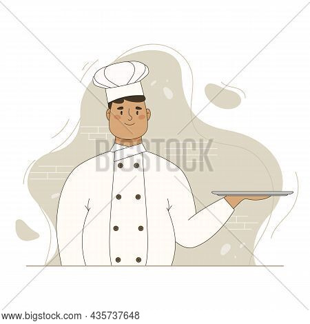 Overweight Chef Hold Empty Serving Tray For Food. Vector Flat Cartoon Illustration