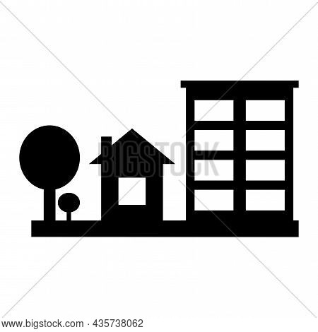 Modern Black Home. Icon With Black House. Build Icon Vector. Vector Silhouette. Vector Illustration.