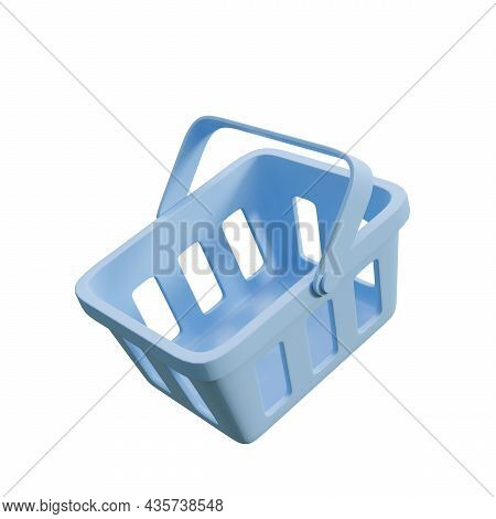 Minimal Style Blue Shopping Basket Isolated On White Background 3d Render Illustration