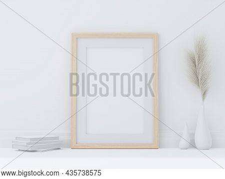 Minimal Style Wooden Poster Frame Put On White Room Floor 3d Render Decorated With Hay Flowers In A