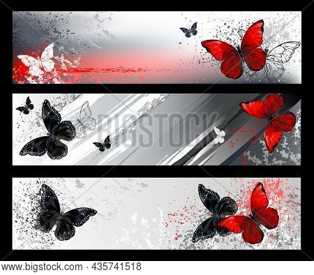 Profile Header Collection With Red And Black Detailed Butterflies On Scenic, Gray, Textured Backgrou