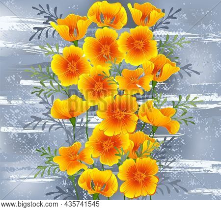 Flowers Of Orange, California Poppy On Gray, Textured Background, Painted Over With Stripes Of White