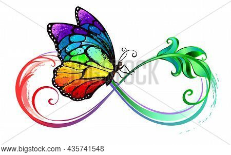 Elegant Infinity Symbol, Embellished With Green, Patterned Leaf With Seated Detailed, Rainbow, Vibra