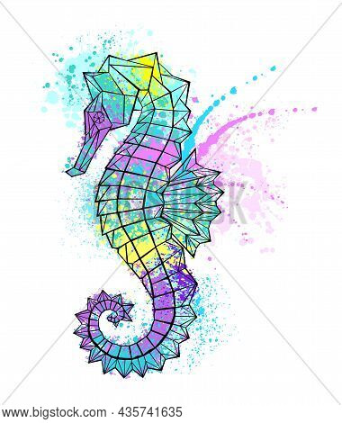 Painted Polygonal Seahorse With Multicolor Paint On White Background.