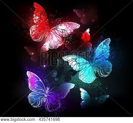 Three Luminous, Red, Purple, Green, Textured, Night Butterflies On Black Luminous Background.