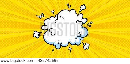 Surprising Boom Cloud In Halftone Background For Sales And Promotions. Yellow Banner Template For Su