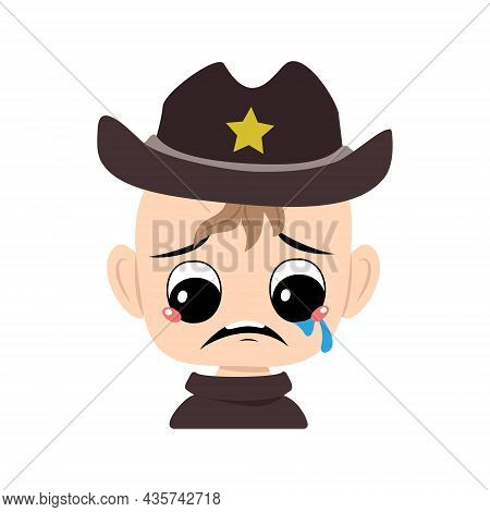 Boy With Crying And Tears Emotion, Sad Face, Depressive Eyes In Sheriff Hat With Yellow Star. Head O